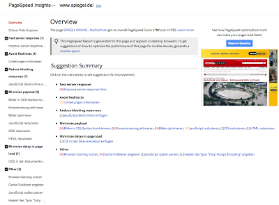 Screenshot Google Page Speed Tool