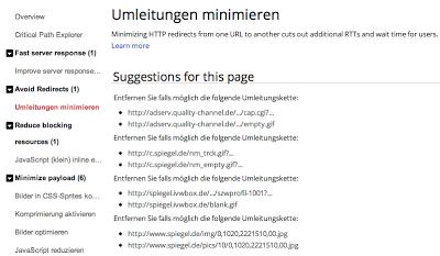 Screenshot Google Page Speed Tool