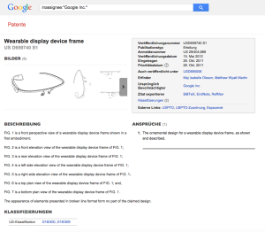 Screenshot des Google Glasses Rahmen Patent Eintrags