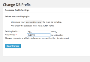 Screenshot WordPress PlugIn Change DB Fix