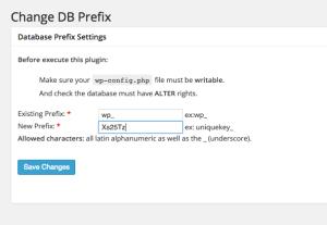 Screenshot WordPress PlugIn Change DB Fix