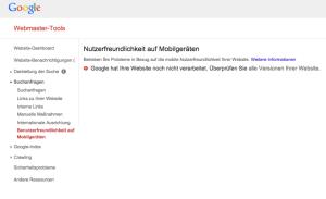 Screenshot: Nutzerfreundlichkeit auf Mobilgeräten