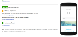 Screenshot Google Page Speed Optimierung - mobile Nutzererfahrung