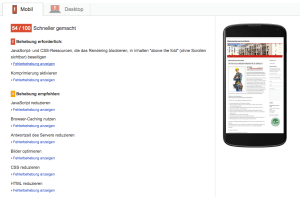 Screenshot Google Page Speed Insights mobile Version