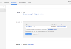 Screenshot Google Adwords Standort Einstellung