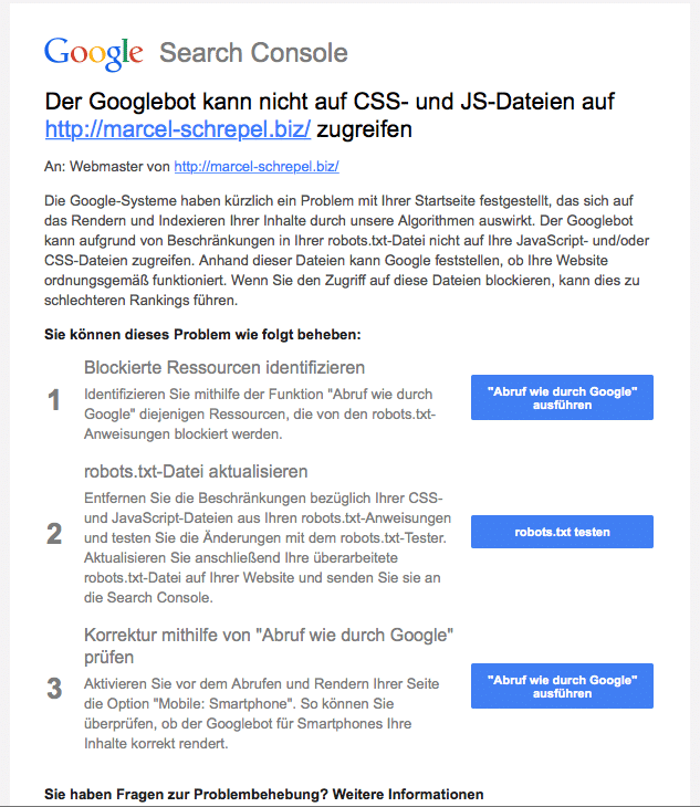 Mail von Search Console