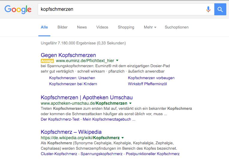 """Google SERP Screenshot zu """"Kopfschmerzen"""""""