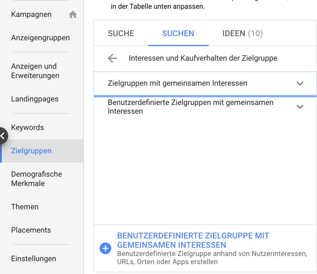 Abbildung Google Ads Einstellung benutzerdefinierte zielgruppe mit gemeinsamen interessen