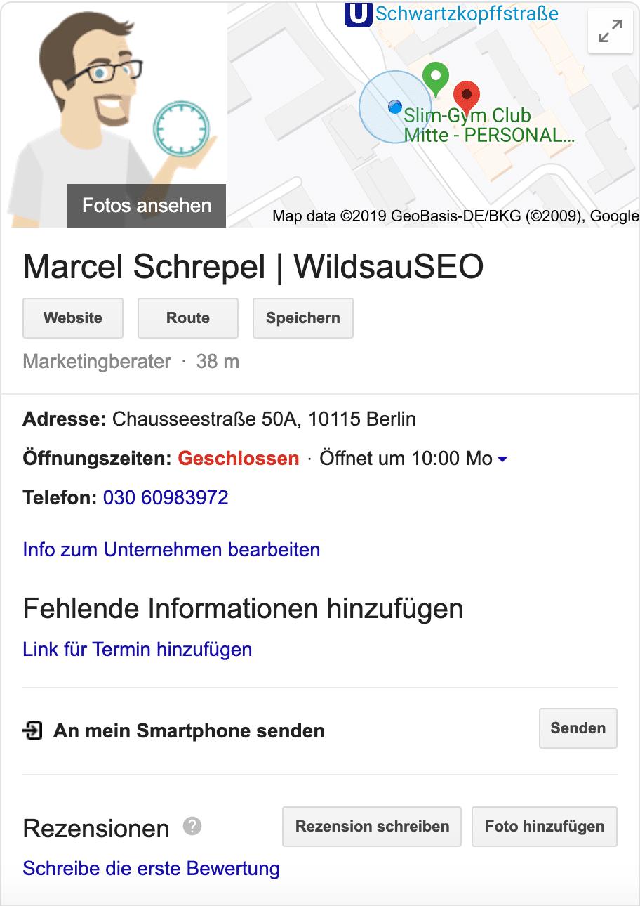 WildsauSEO Eintrag auf Google Maps